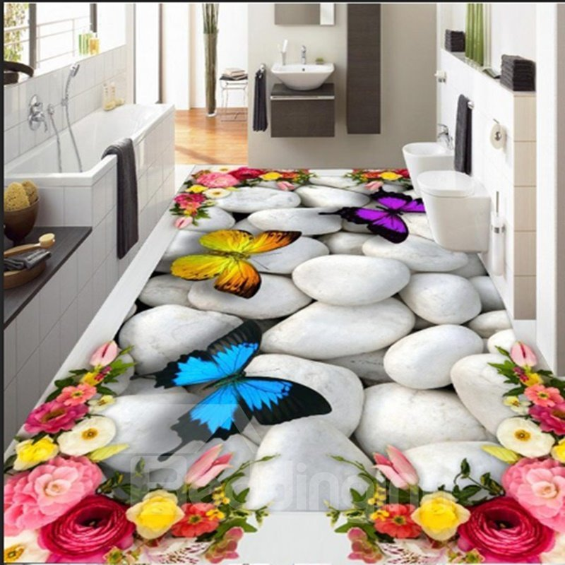 White Cobblestone With Flowers And Butterflies Decoration