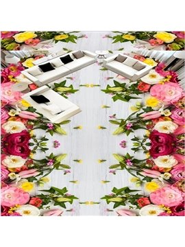 Amazing Modern Design Flowers Pattern Home Decorative Waterproof 3D Floor Murals