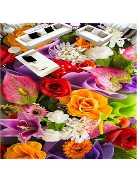 Modern Colorful Flowers Print Nonslip and Waterproof Print 3D Floor Murals