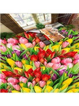 Lovely Colorful Lily Flowers Pattern Nonslip and Waterproof 3D Floor Murals