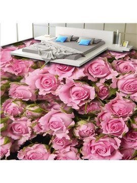Splendid Pink Roses Pattern Home Decorative Nonslip and Waterproof 3D Floor Murals