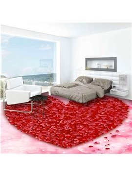 Delicate Red Heart Shape Print Design Nonslip and Waterproof 3D Floor Murals