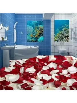 Red and White Rose Petals Print Home Decorative Nonslip and Waterproof 3D Floor Murals
