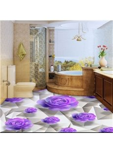 Gorgeous Purple Roses Pattern Waterproof Home Decorative 3D Floor Murals