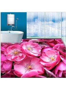 Stunning Pink Flowers Pattern Nonslip and Waterproof 3D Floor Murals