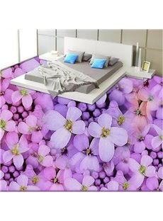 Natural Fresh Purple Flower Print Nonslip and Waterproof 3D Floor Murals