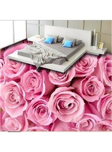 Romantic Pink Roses Pattern Home Decorative Waterproof 3D Floor Murals