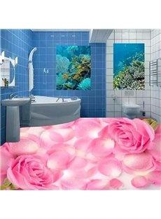 Pink Roses and Petals Print Modern Design Waterproof Splicing 3D Floor Murals