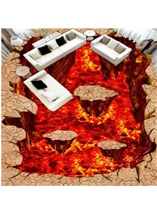 Awesome Modern Volcano and Stone Pattern Design Nonslip and Waterproof 3D Floor Murals