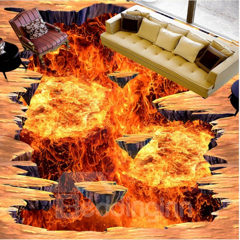 Realistic Amusing Design Volcano Print Waterproof Home Decorative 3D Floor Murals
