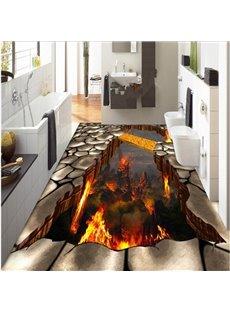 Creative Modern Design Volcano Pattern Nonslip and Waterproof 3D Floor Murals