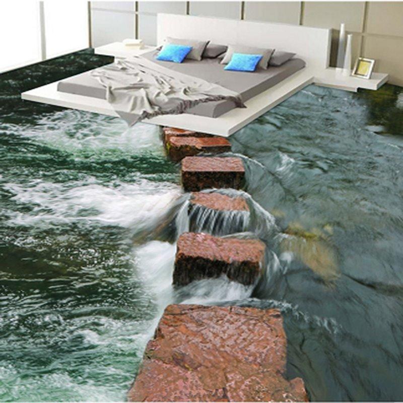 Brown Stone Path In The River 3d Waterproof Floor Murals