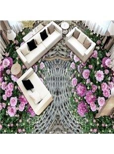 Elegant Simple Style Pink Flower Pattern Nonslip and Waterproof 3D Floor Murals