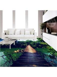 Wonderful Suspension Bridge over the River Pattern Waterproof 3D Floor Murals