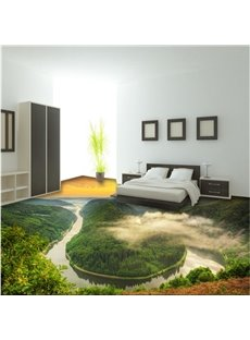 Magnificent Sunset Natural Scenery Print Nonslip and Waterproof 3D Floor Murals