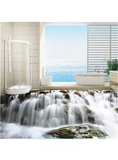 Realistic Waterfalls Print Nonslip and Waterproof Bathroom Decoration 3D Floor Murals