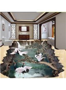 Unique Design White Cranes Standing on the Tree Pattern Waterproof 3D Floor Murals