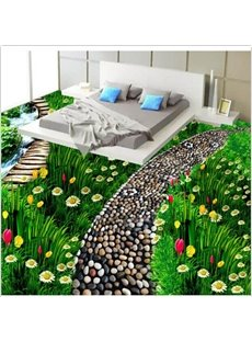 Stunning Green Grasscluster with Beautiful Flowers Pattern Waterproof 3D Floor Murals