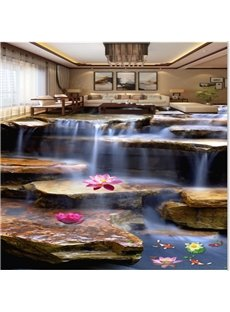 Natural Stream and Goldfish Pattern Home Decorative Waterproof Splicing 3D Floor Murals