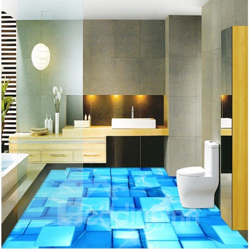 Blue Plaid Cubes PVC Nonslip and Waterproof 3D Floor Murals