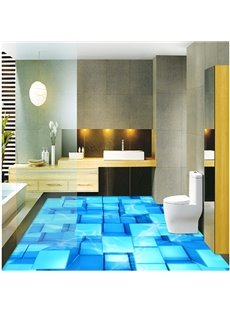 Vivid Three-dimensional Blue Cubes Pattern Nonslip and Waterproof 3D Floor Murals
