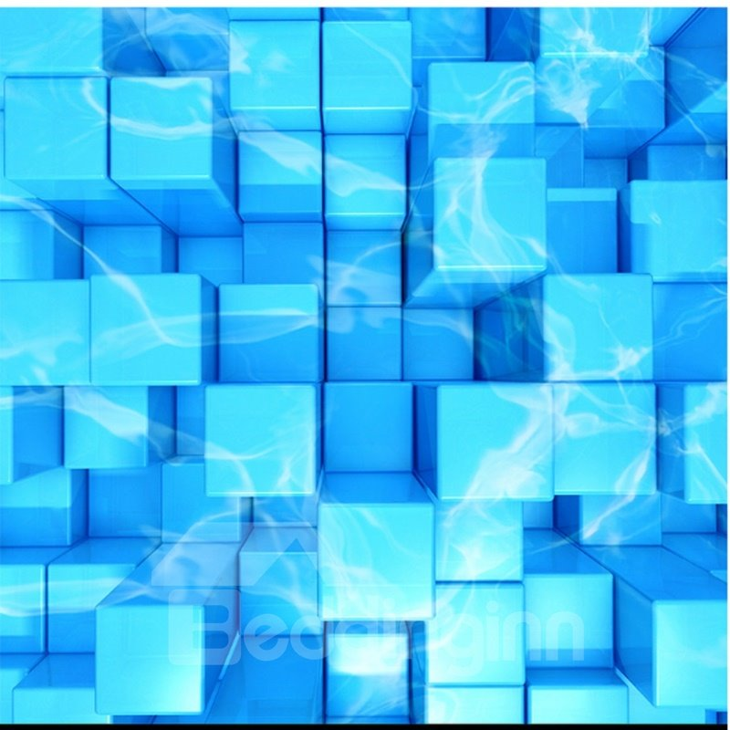 Blue Plaid Cubes PVC Nonslip and Waterproof 3D Floor Murals