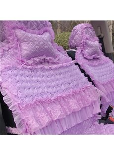 Classic Purple Embroidery Craft Lace Frills Single Car Pillow