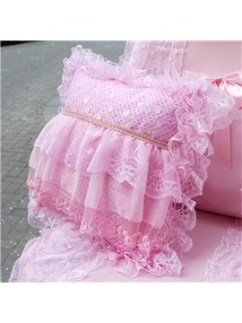 Fresh Multilayer Lace Thick Pink Style Single Muti-Use Car Pillow