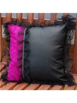 Attractive Purple Rose With Black Lace Matched Popular Muti-Use Car Pillow
