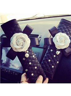 Camellia Decorate With Bow Beautiful Car Belt Cover
