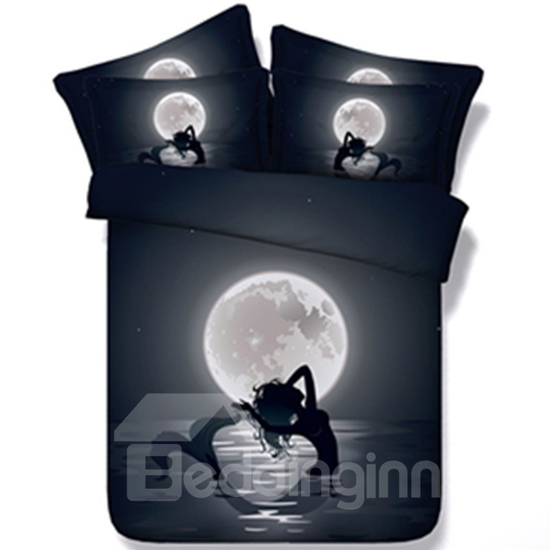 Beautiful Mermaid Moonlight Print 5 Piece Comforter Sets Pic