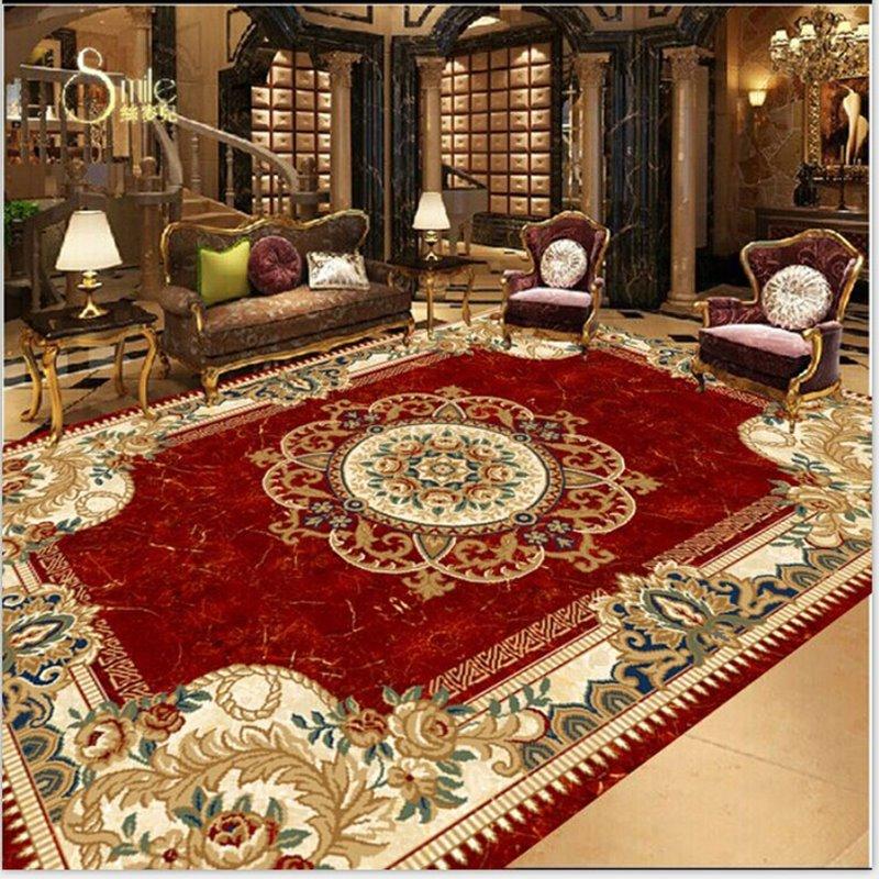 Aliexpress Com Buy European Style 3d Floor Tiles Mural: European Style Flower Print Area Rug Design Waterproof 3D