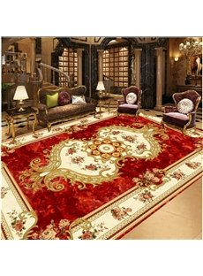 Luxuriant European Style Flower Decoration Area Rug Design Waterproof 3D Floor Murals