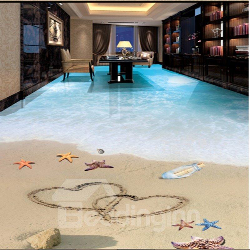 Heart Prints on the Sandbeach 3D Waterproof Floor Murals