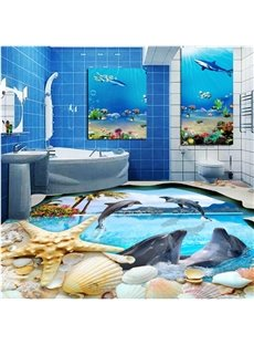 Decorative Jumping Dolphins and Seashells Pattern Waterproof 3D Floor Murals