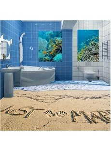 Romantic Just Married on the Sandbeach Pattern Home Decorative 3D Floor Murals
