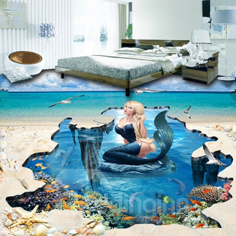 Sexy And Beautiful Mermaid In The Sea Pattern Home