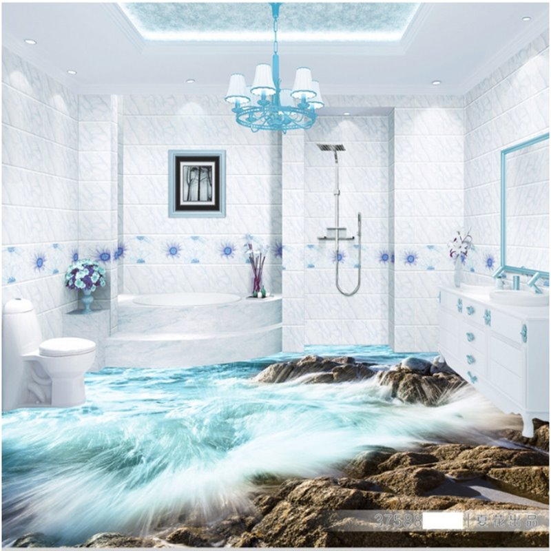 Wonderful Design Sea Waves on the Beach Pattern Home Decorative 3D Floor Murals