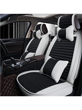Fashion Contrast Color Style Design Comfortable PU Leatherette Flax Material Universal Car Seat Cover