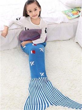 Pretty Christmas Tree Pattern Blue Mermaid Tail Design Blanket