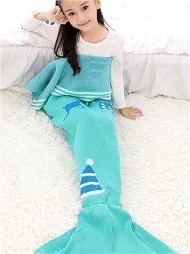 Soft Christmas Hat Pattern Mermaid Tail Design Blanket