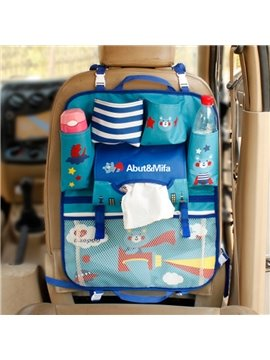 Multifunction Anti-Kicking Blue Cartoon Bear Style Creative Car Backseat Organizer