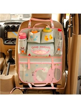 High Capacity Anti-Kicking And Waterproof Elephant Cartoon Design Car Backseat Organizer