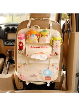 High Capacity Anti-Kicking Circus Cartoon Design Car Backseat Organizer