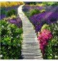 Beautiful Wooden Path Through the Lavender Field Print Countryside Waterproof Splicing 3D Floor Murals