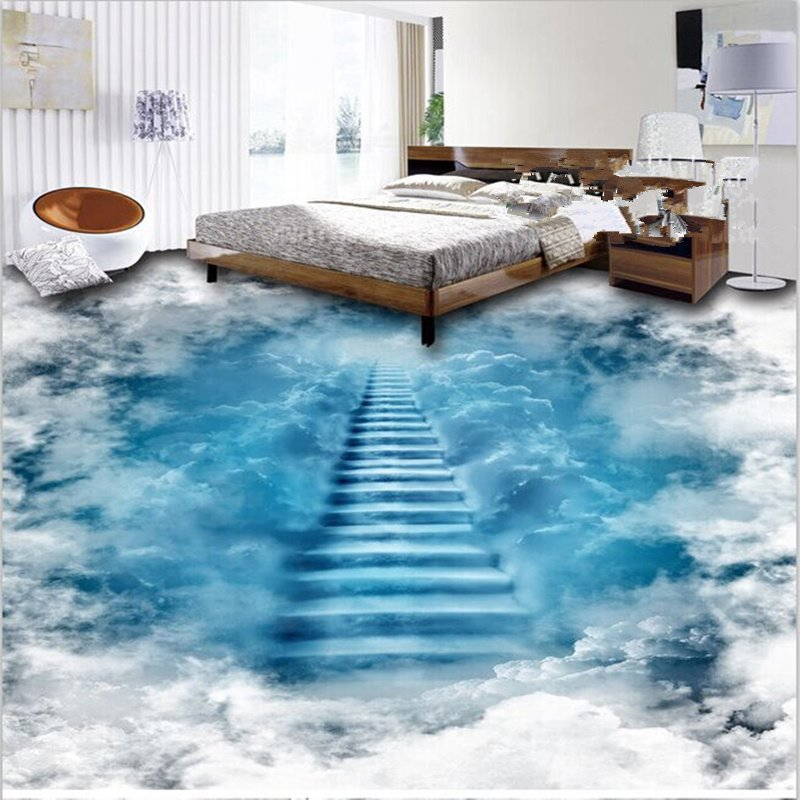 Unique Design Staircase To The Clouds Print Waterproof