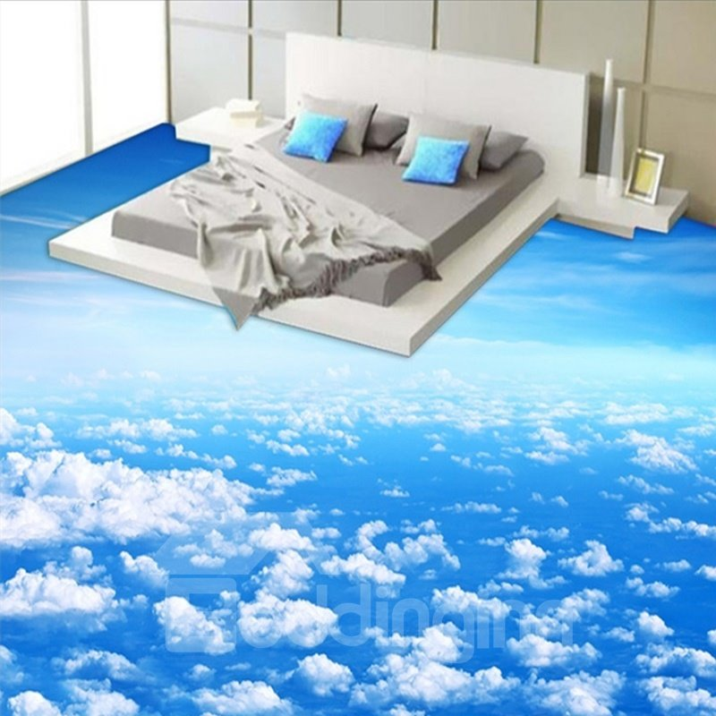 Blue sky and white cloud pattern nonslip and waterproof 3d for Bathroom floor mural sky