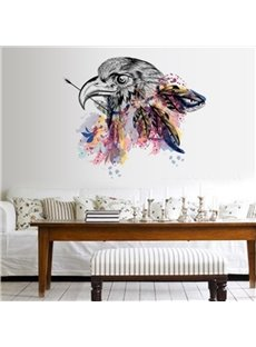 Amazing Simple Style Eagle Head with Colorful Feathers Pattern Wall Stickers