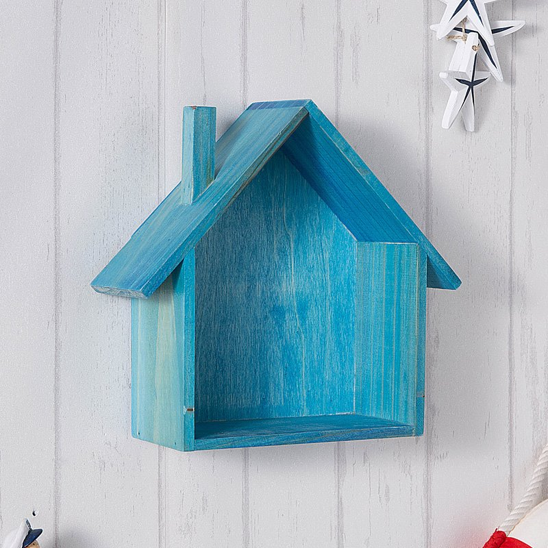 Cute Wooden Modern Style House Shape Home Decorative Wall Shelves