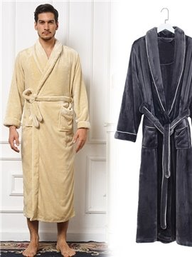 Concise Solid Color Warm Flannel Men's Bathrobe